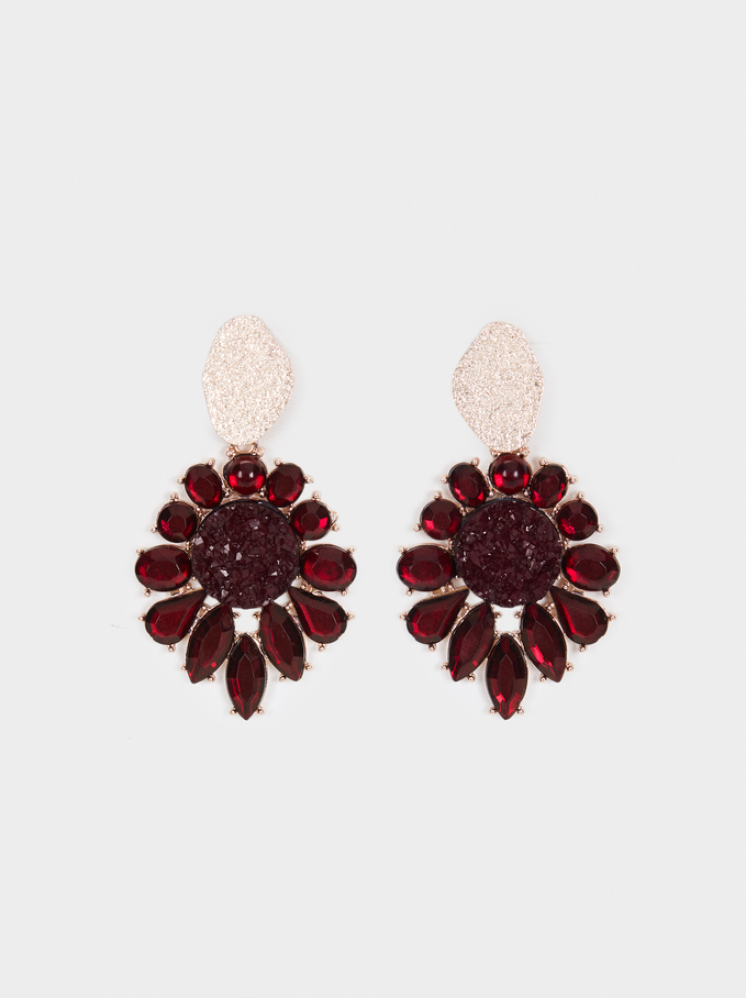 Rose Berry Long Earrings, Bordeaux, hi-res