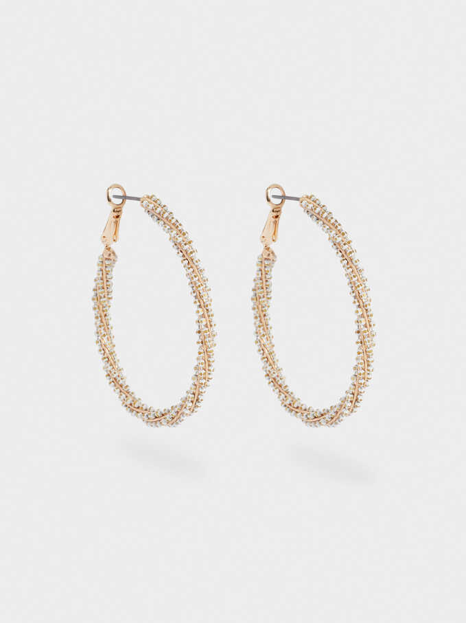 Large Hoop Earrings With Beads, White, hi-res