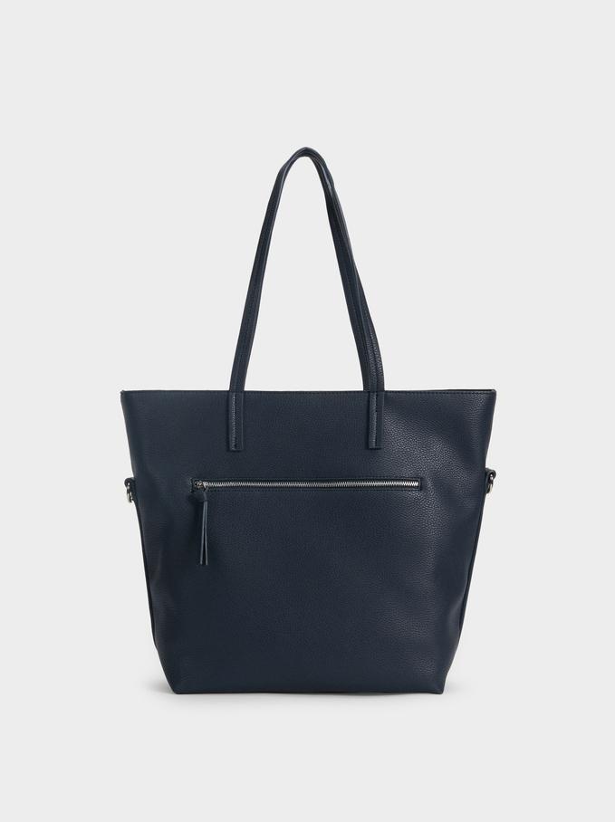 Tote Bag With Long Crossbody Handle, Navy, hi-res