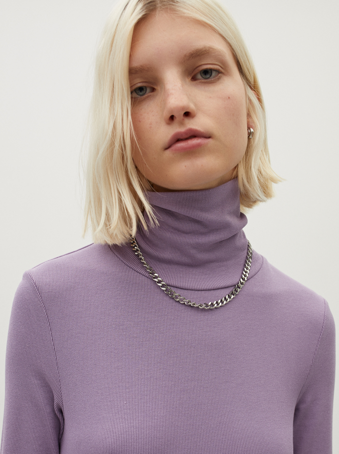 High-Neck Knit Sweater, Violet, hi-res