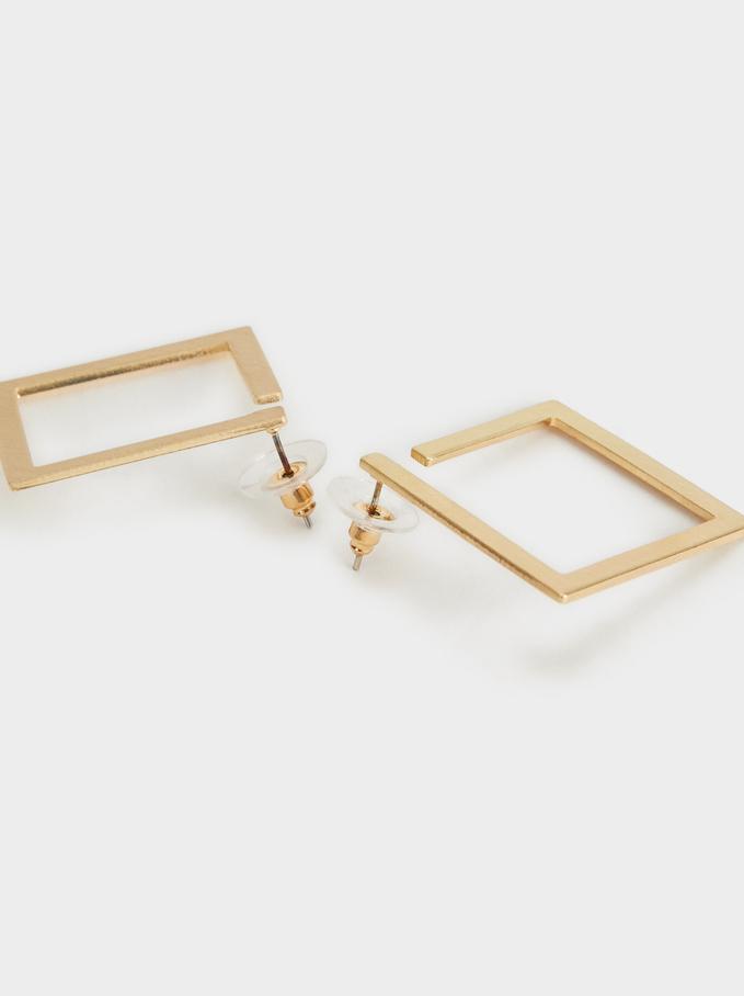 Gold Geometric Earrings , Golden, hi-res