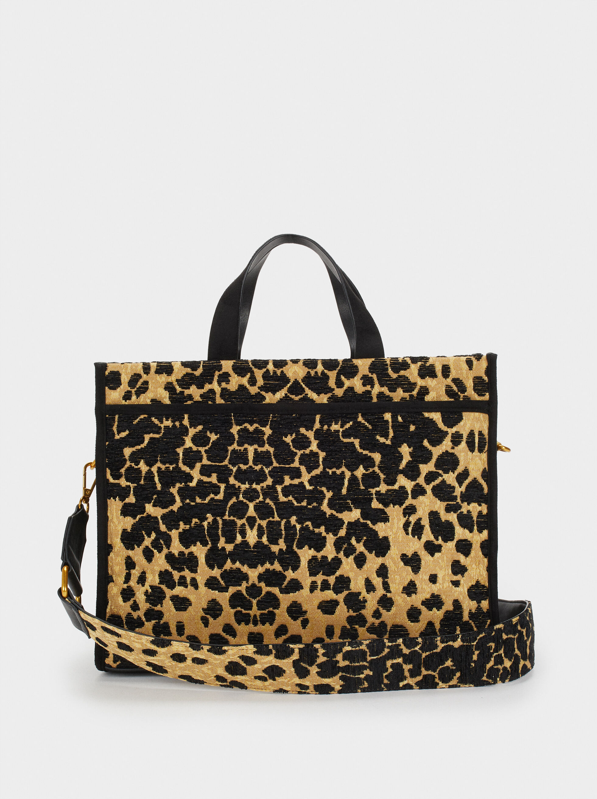 Animal Print Tote Bag, Black, hi-res
