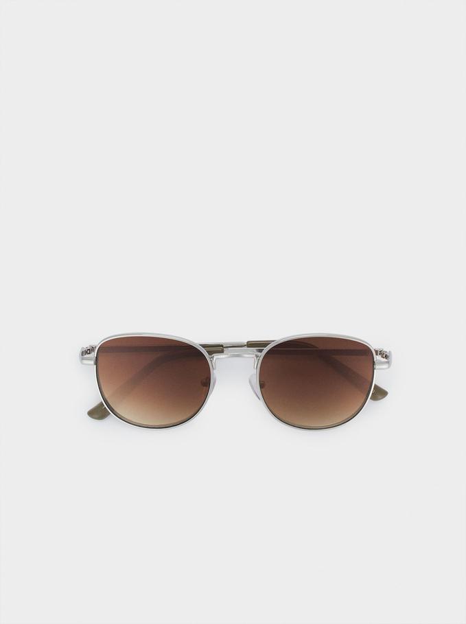 Round Metallic Sunglasses , Silver, hi-res