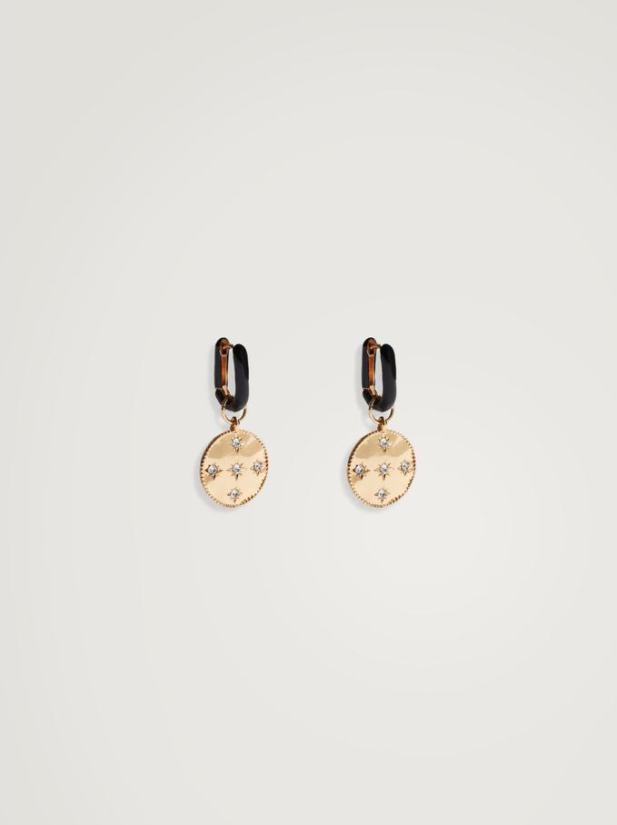 Créoles Avec Médaille Amovible, Noir, hi-res