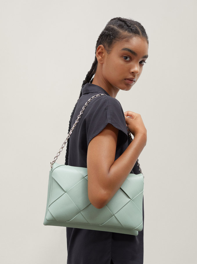 Braided Handbag With Double Strap, Grey, hi-res