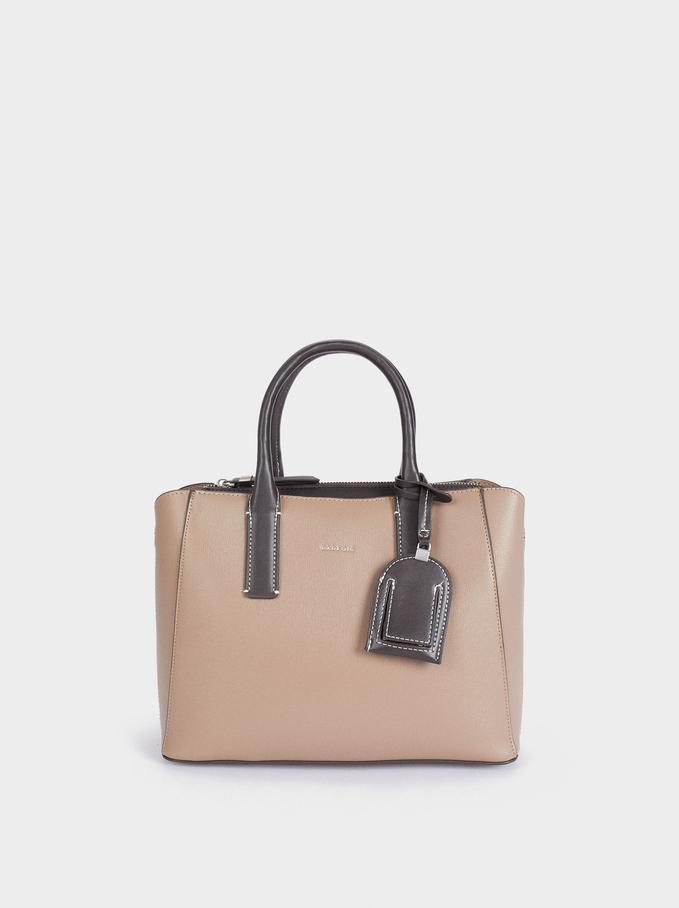 Shopper Bag With Multi-Way Handle, Brown, hi-res