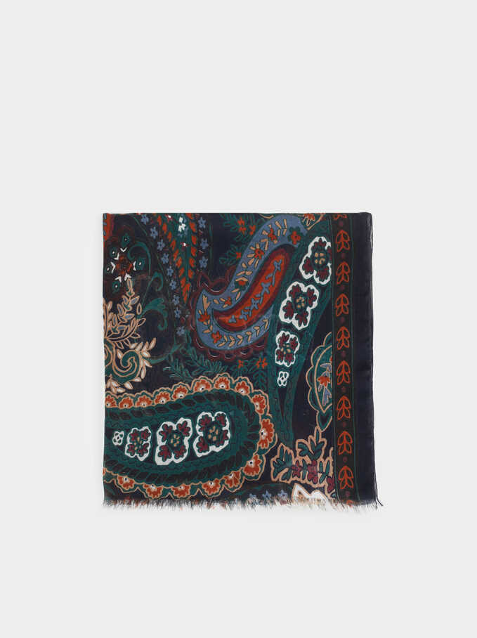 Cotton Scarf With A Paisley Print, Blue, hi-res
