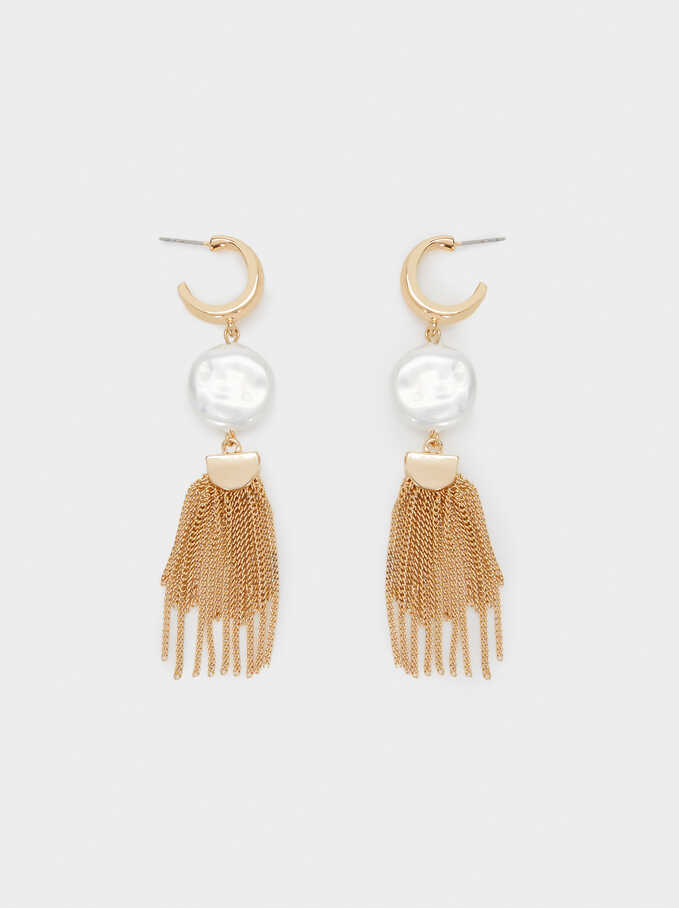 Large Hoop Earrings With Faux Pearl, Golden, hi-res