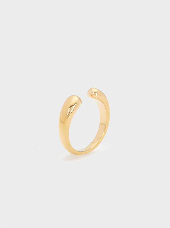 Gold Stainless Steel Ring, Golden, hi-res