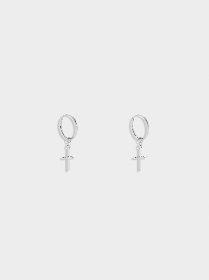 925 Sterling Silver Short Hoops With Cross, Silver, hi-res