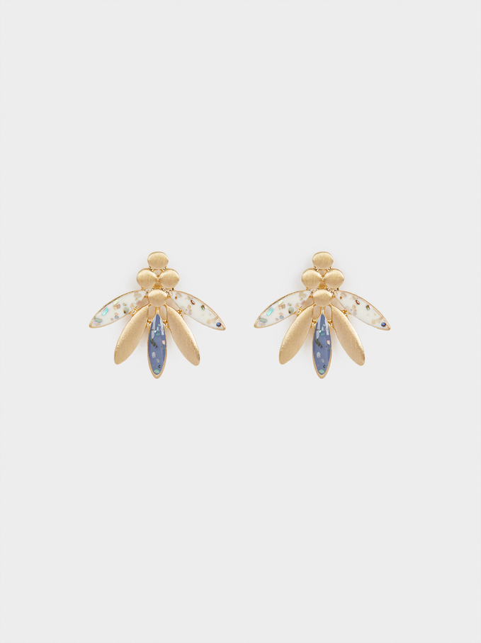 Shiny Short Earrings, Multicolor, hi-res