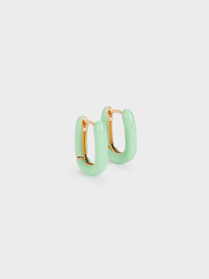 Small Enamel Hoop Earrings, Green, hi-res