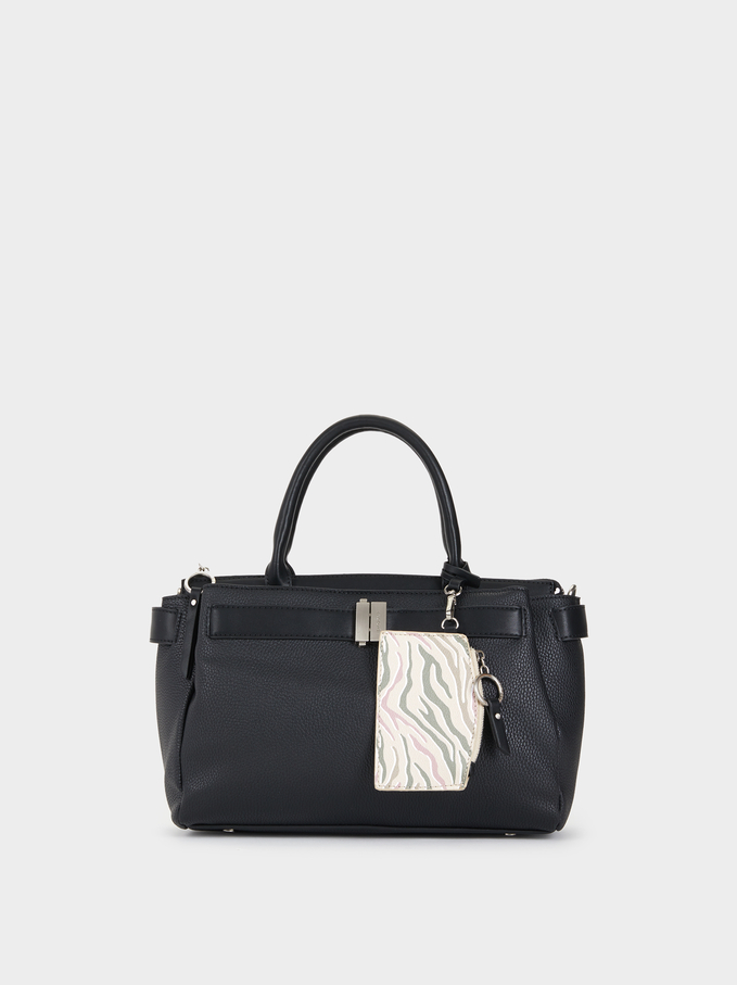 Large Bag With Tassels, Black, hi-res