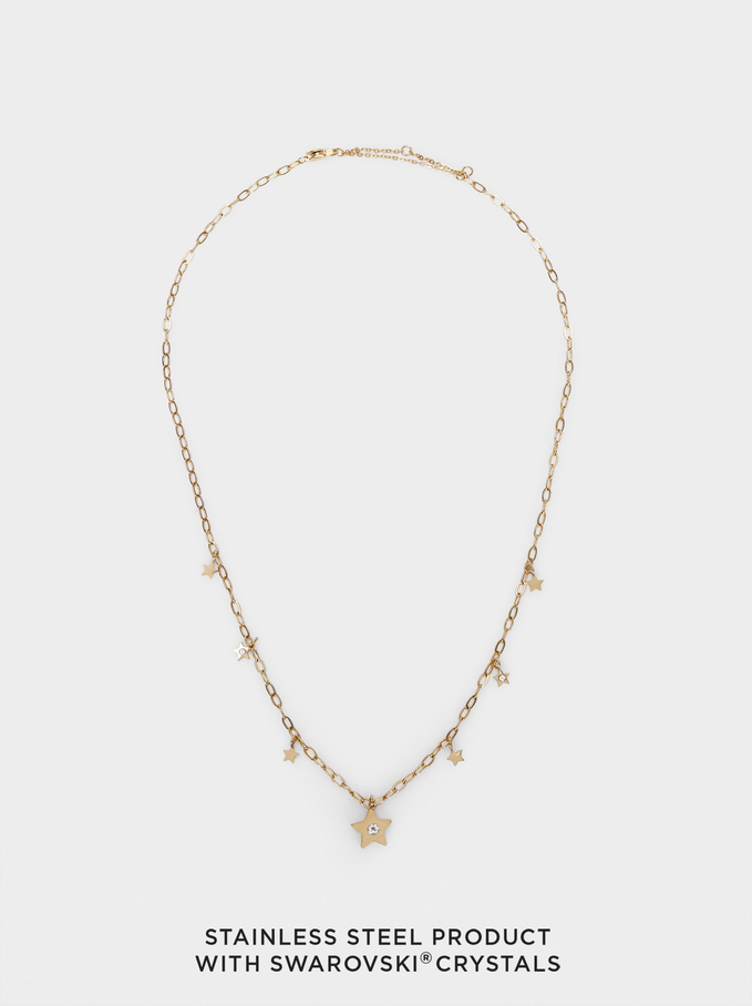Stainless Steel Swarovski Crystals Necklace, Golden, hi-res