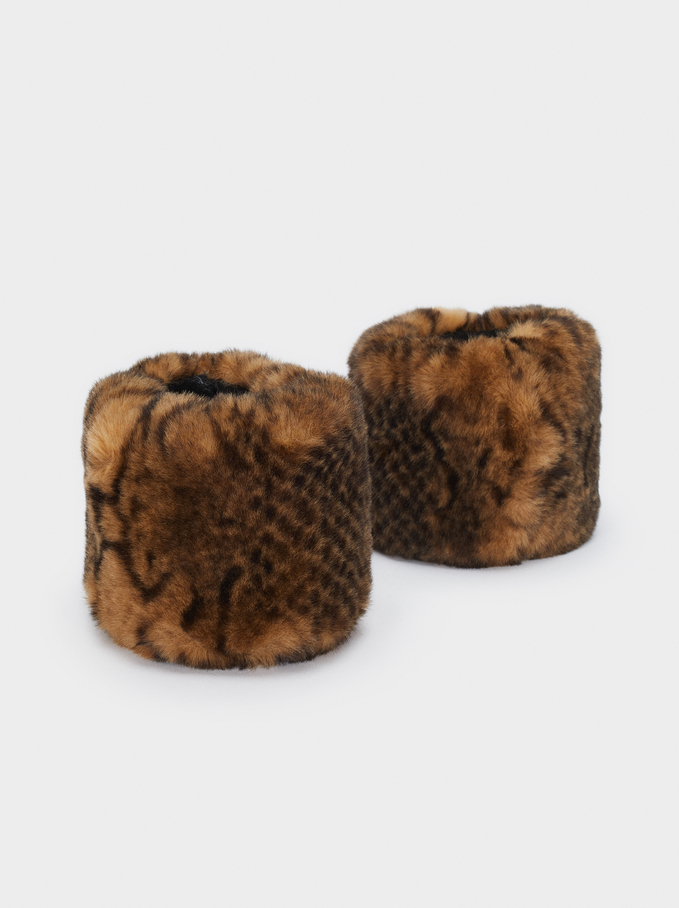 Faux Fur Cuffs , Brown, hi-res