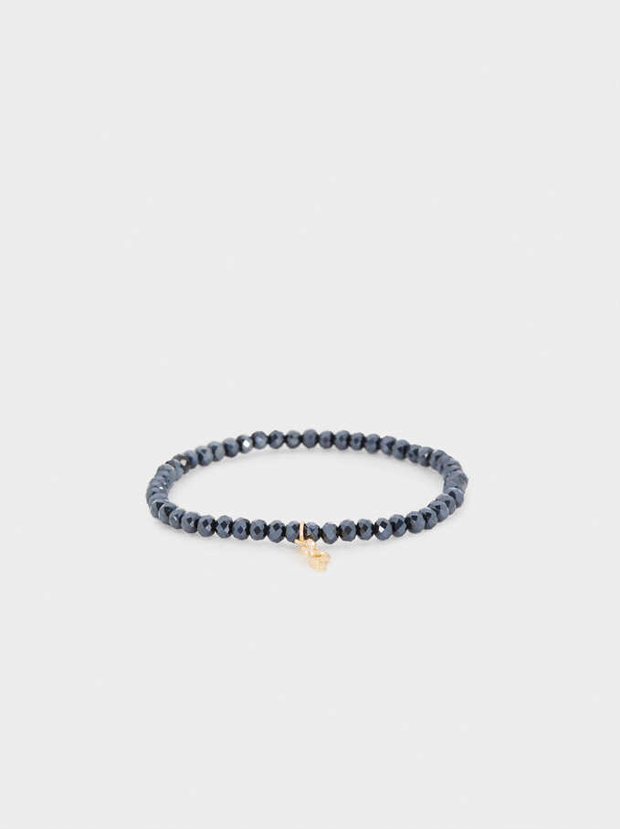 Elastic Bracelet With Snake, Blue, hi-res