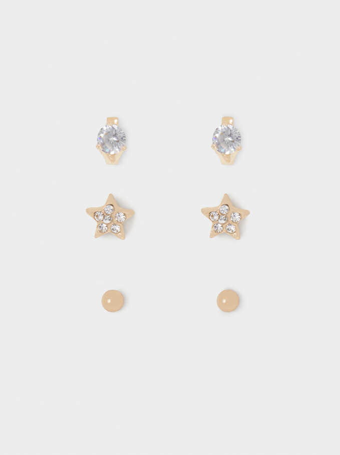 Set Of Earrings With Crystals, Golden, hi-res