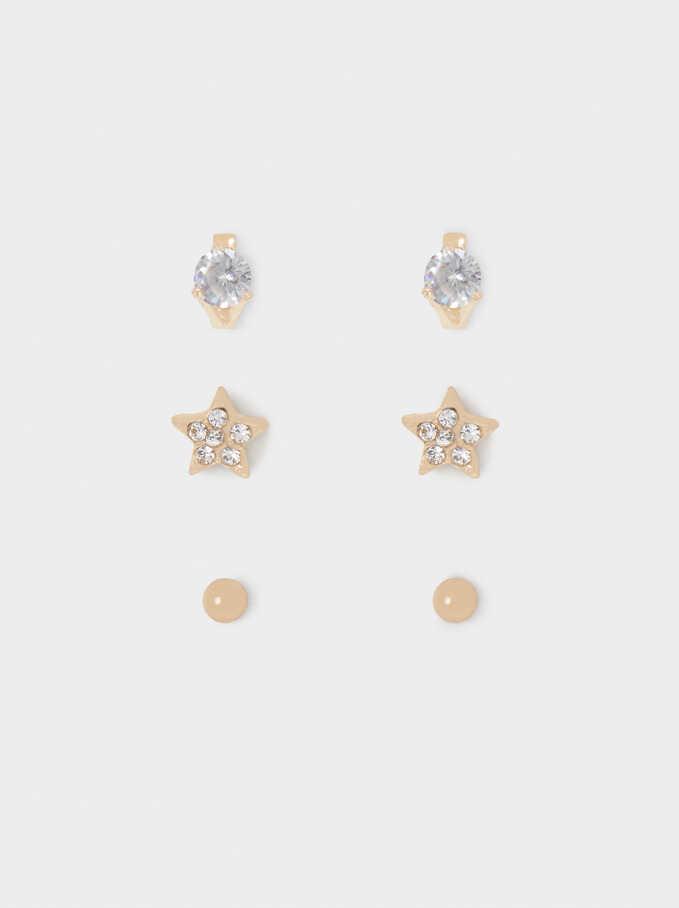 Conjunto De Pendientes Con Cristales, Dorado, hi-res