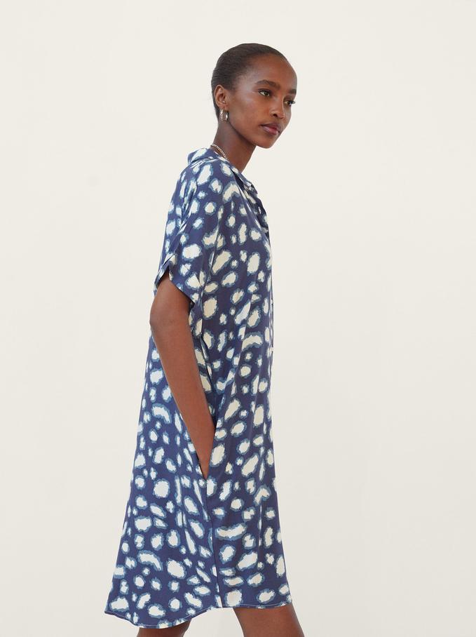 Printed Shirt Dress, Blue, hi-res