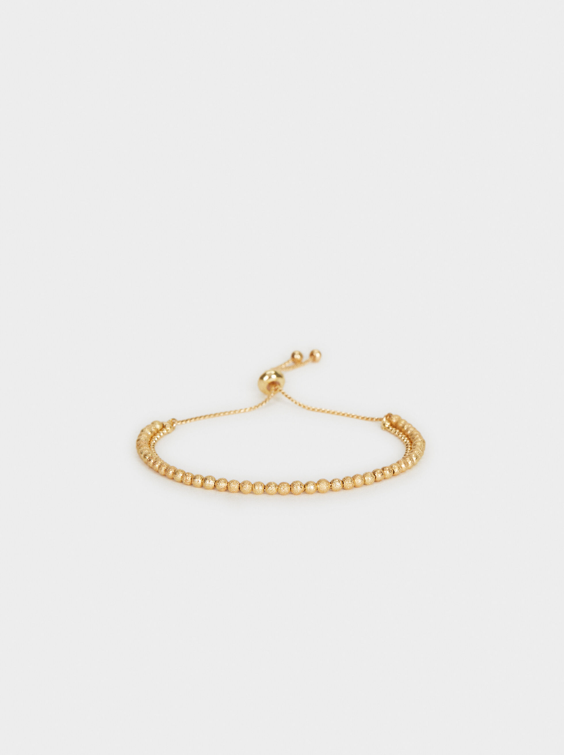 Gold Elastic Bracelet With Faux Pearls, , hi-res