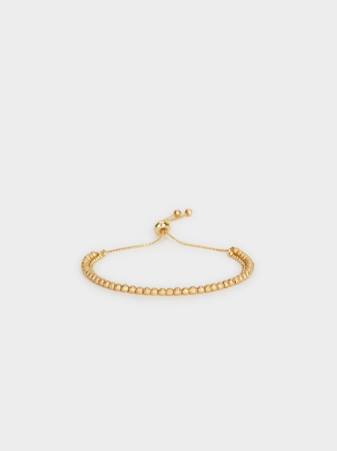 Elastic Faux Pearl Bracelet , Golden, hi-res