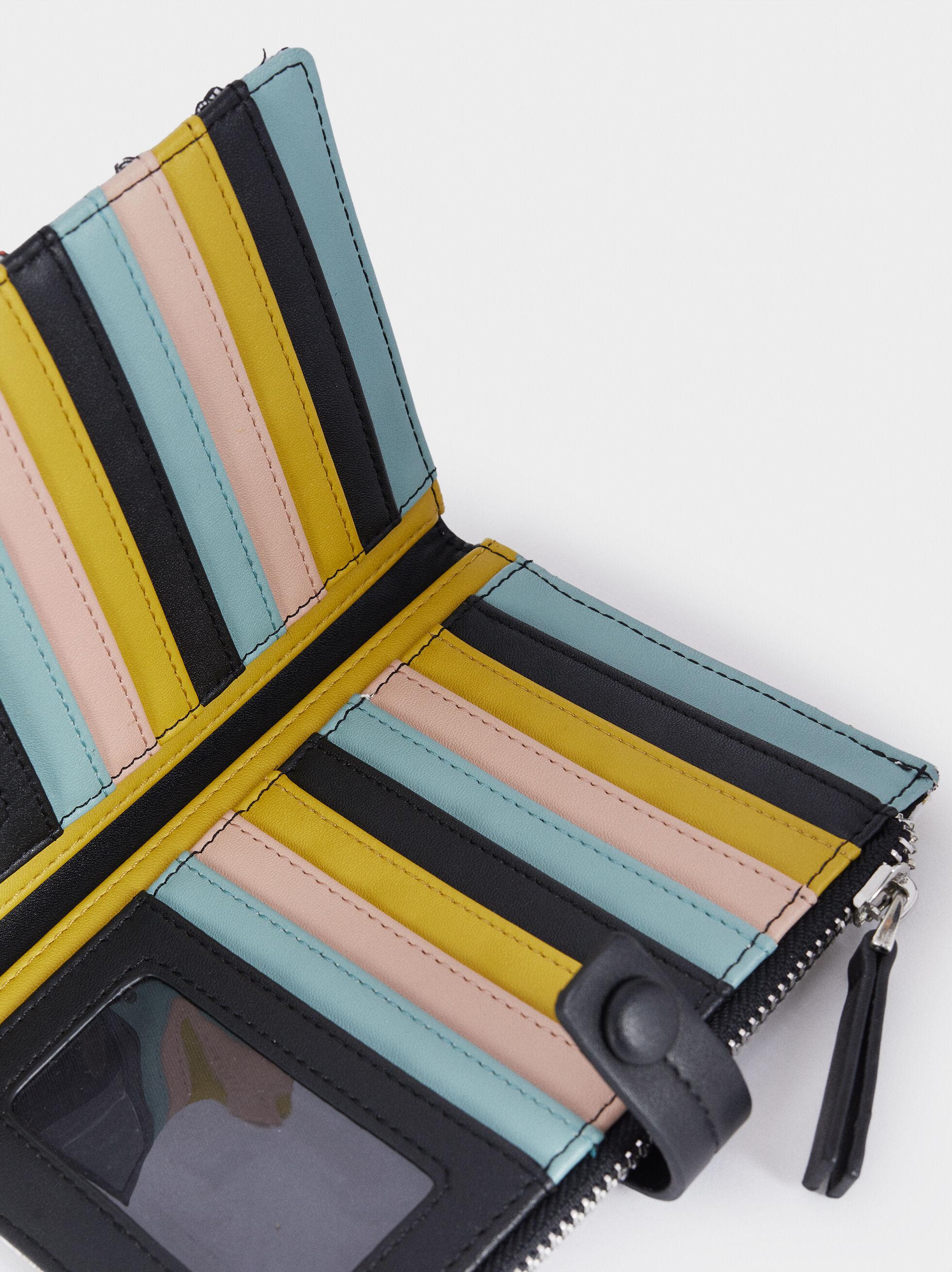 Multi-Coloured Printed Card Holder, Black, hi-res
