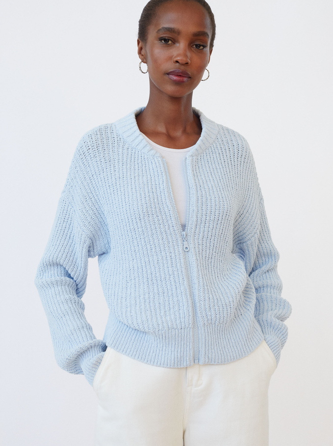 Knit Sweater With Zip, Blue, hi-res