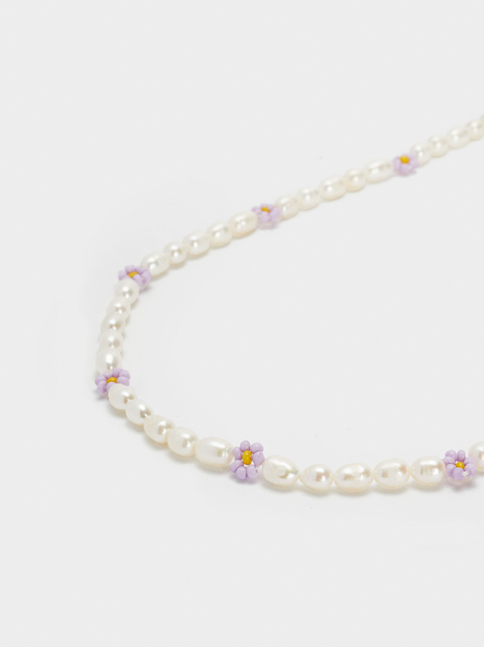 Short Necklace With Pearls And Flowers, Multicolor, hi-res