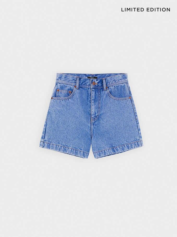 Pantalones Cortos Denim, Azul, hi-res