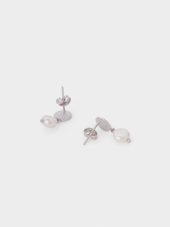 Pendientes Cortos De Plata 925 Con Perlas, Plateado, hi-res