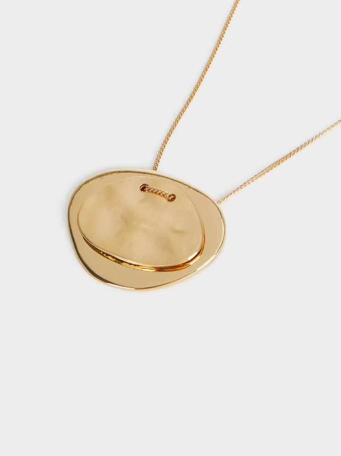 Short Necklace With Golden Pendant, Golden, hi-res