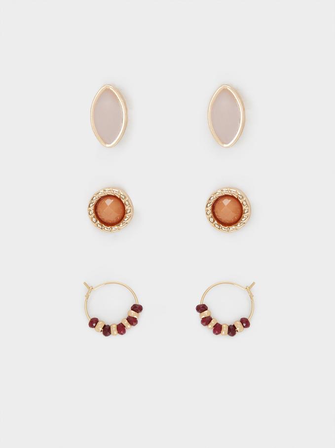 Set Of Multicoloured Earrings, Multicolor, hi-res