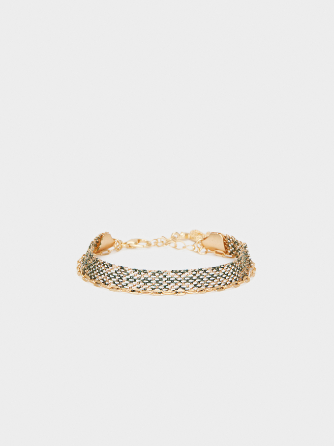Gold Chain Metal Bracelet With Snake, Multicolor, hi-res