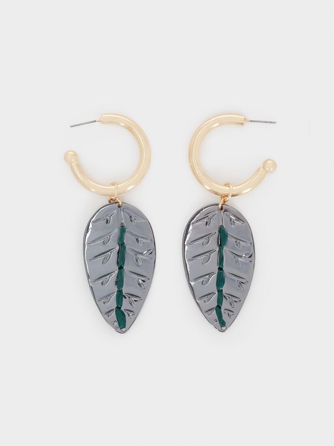 Leaf Dangle Earrings, Multicolor, hi-res