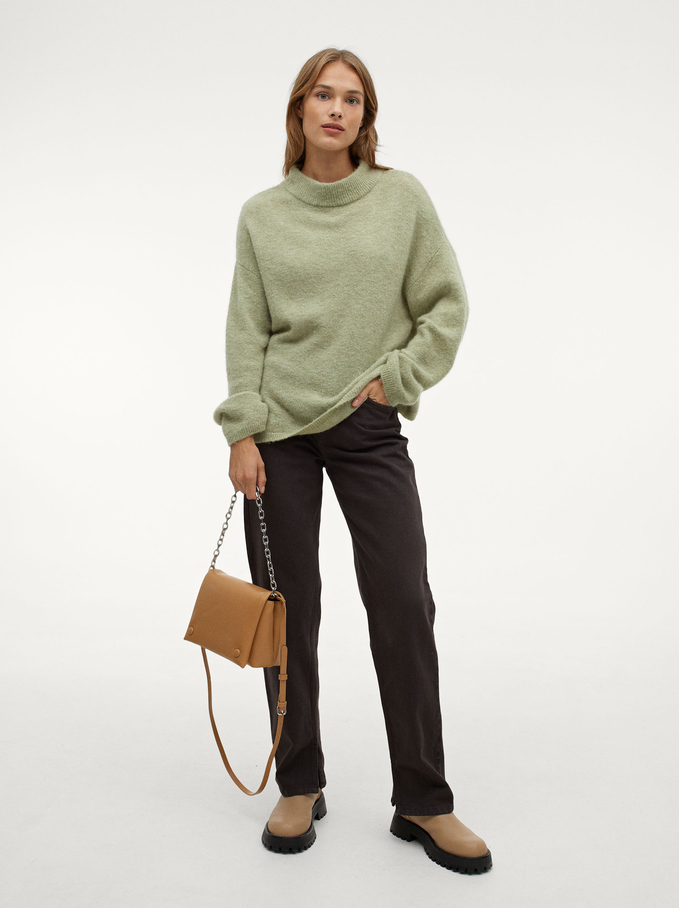 Knitted Perkins Neck Sweater, Grey, hi-res