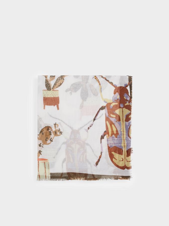 Foulard Stampato Wild Color, Avorio, hi-res