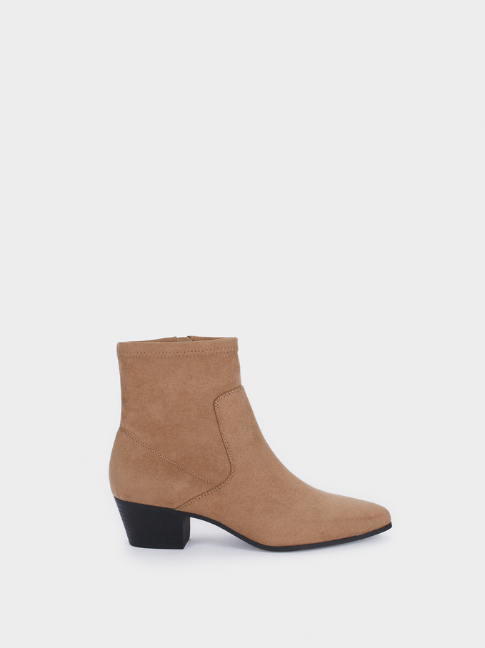 Heeled Stretch Ankle Boots, Brown, hi-res