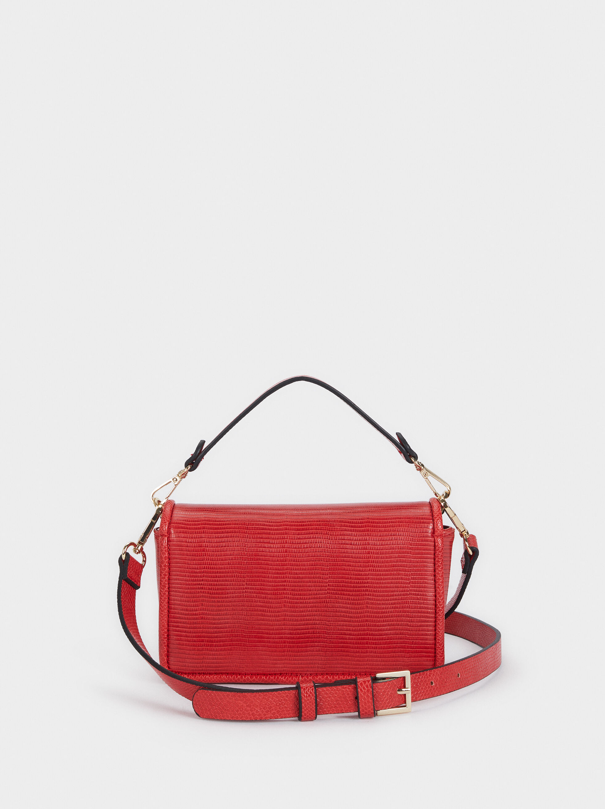 Animal Embossed Crossbody Bag, Coral, hi-res