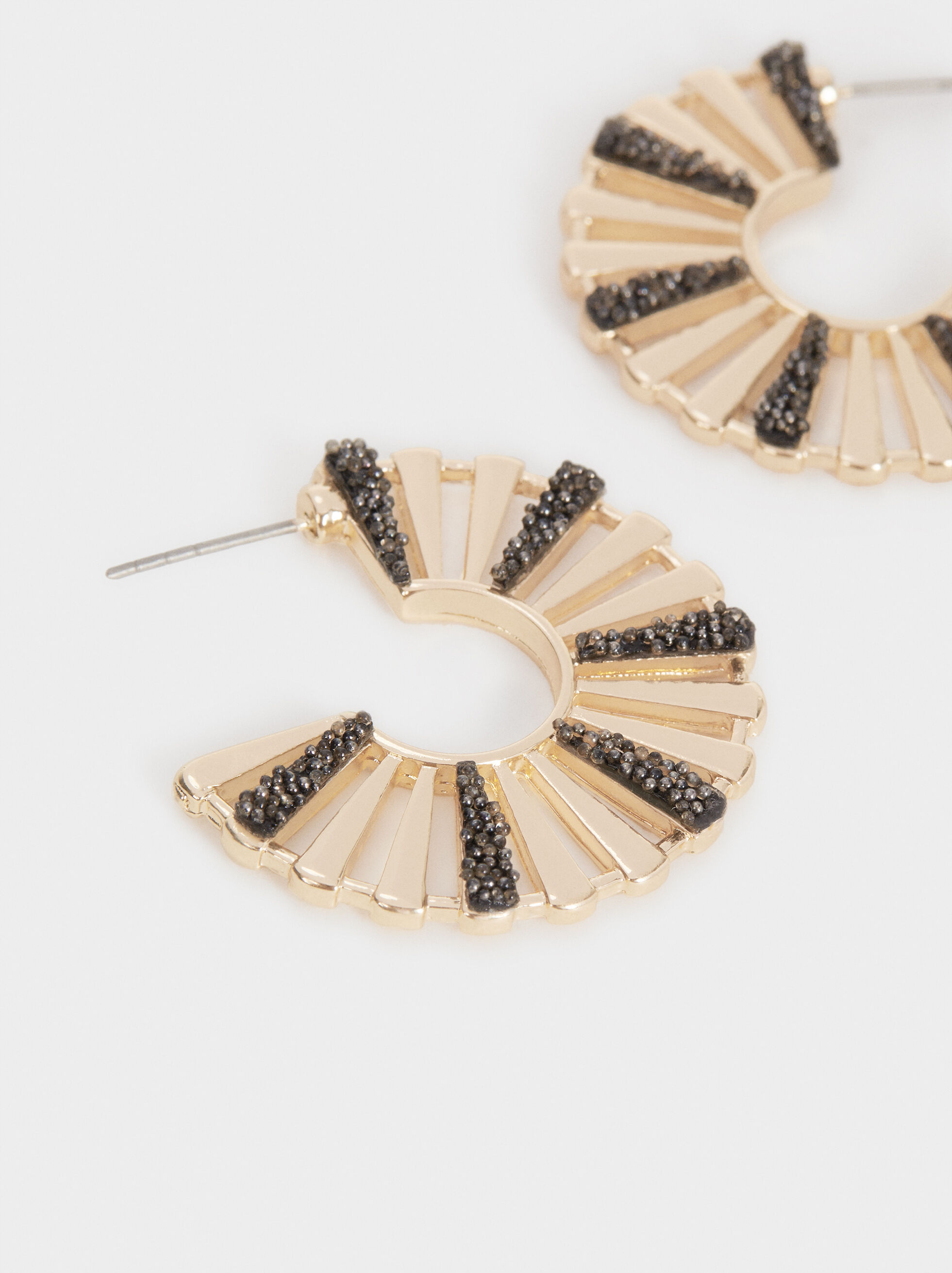 Small Hoop Earrings With Rhinestones, Multicolor, hi-res