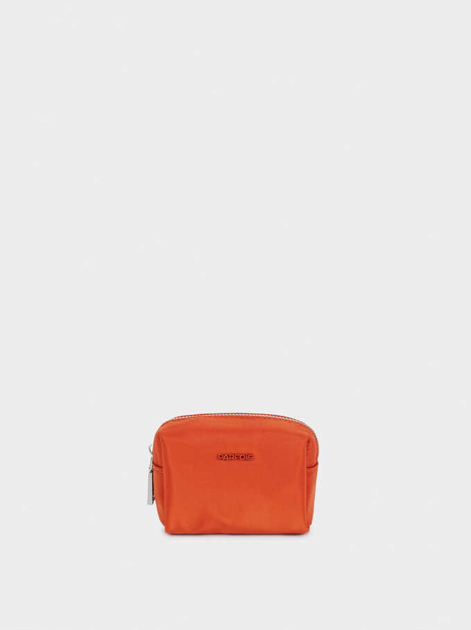 Nylon Plain Coin Purse, Orange, hi-res