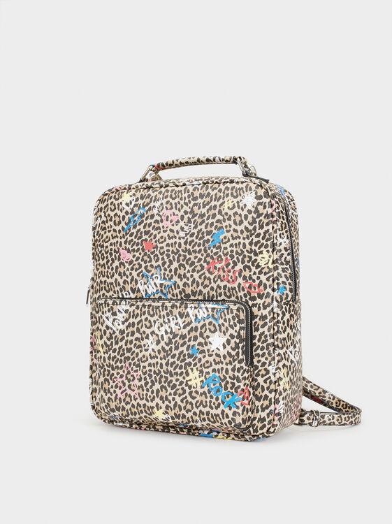 Printed Backpack, Black, hi-res