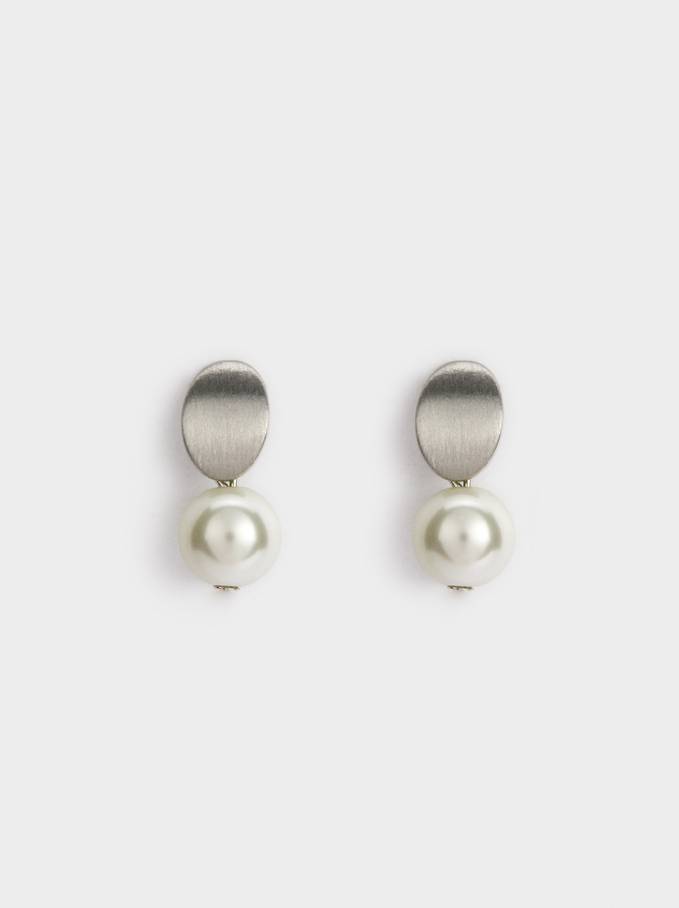 Faux Pearl Studs, White, hi-res