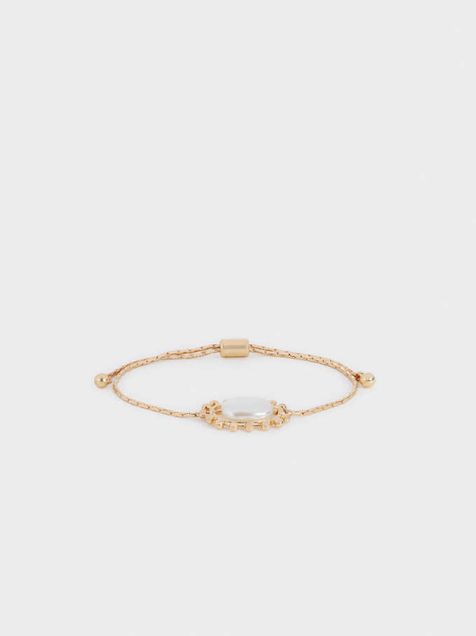 Adjustable Gold Bracelet With Eye Detail, Golden, hi-res