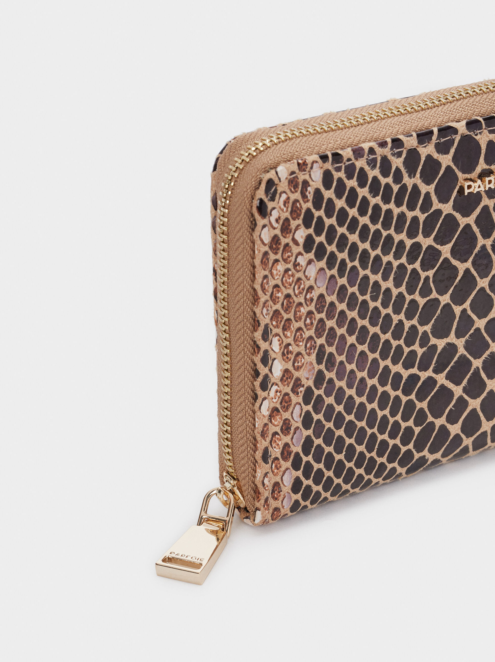 Embossed Animal Print Wallet, Beige, hi-res