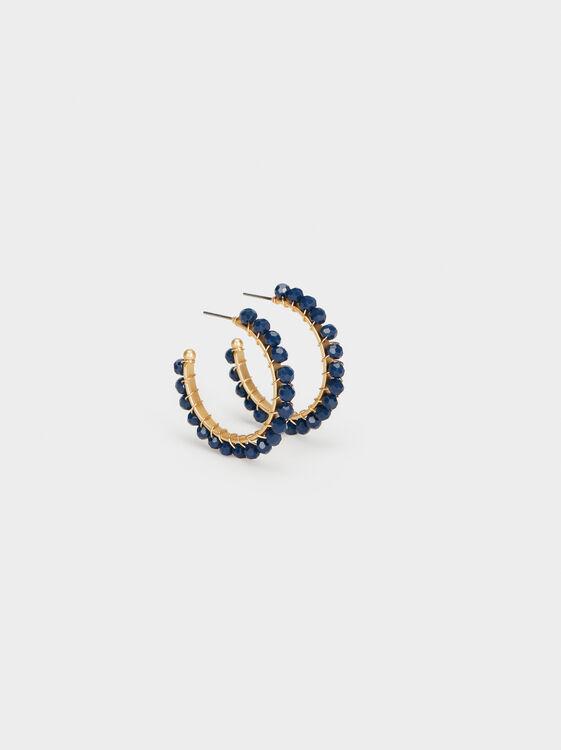 Cosmic Pink Medium Hoop Earrings With Little Beads, , hi-res