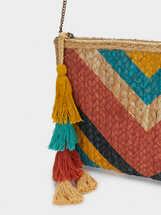 Textured Raffia Handbag, Coral, hi-res