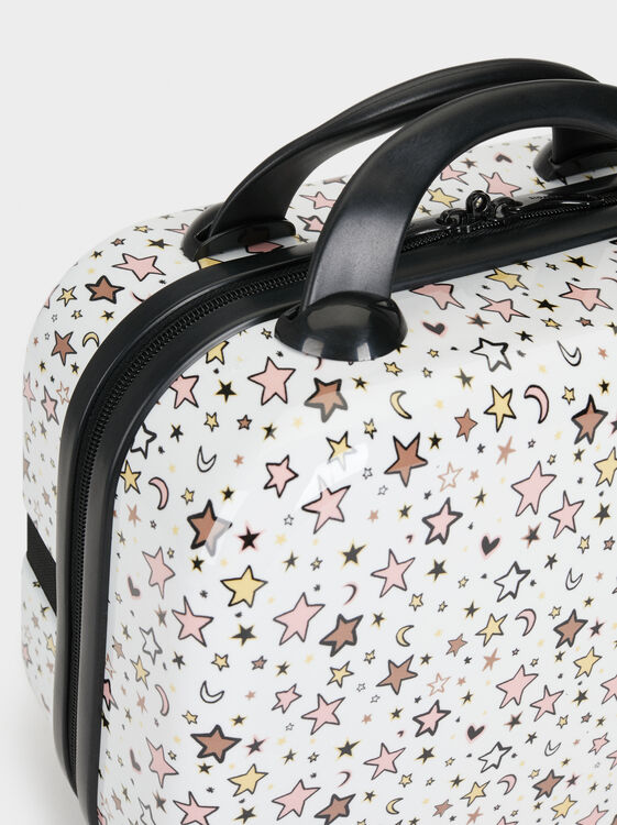Star Print Toiletry Bag, White, hi-res