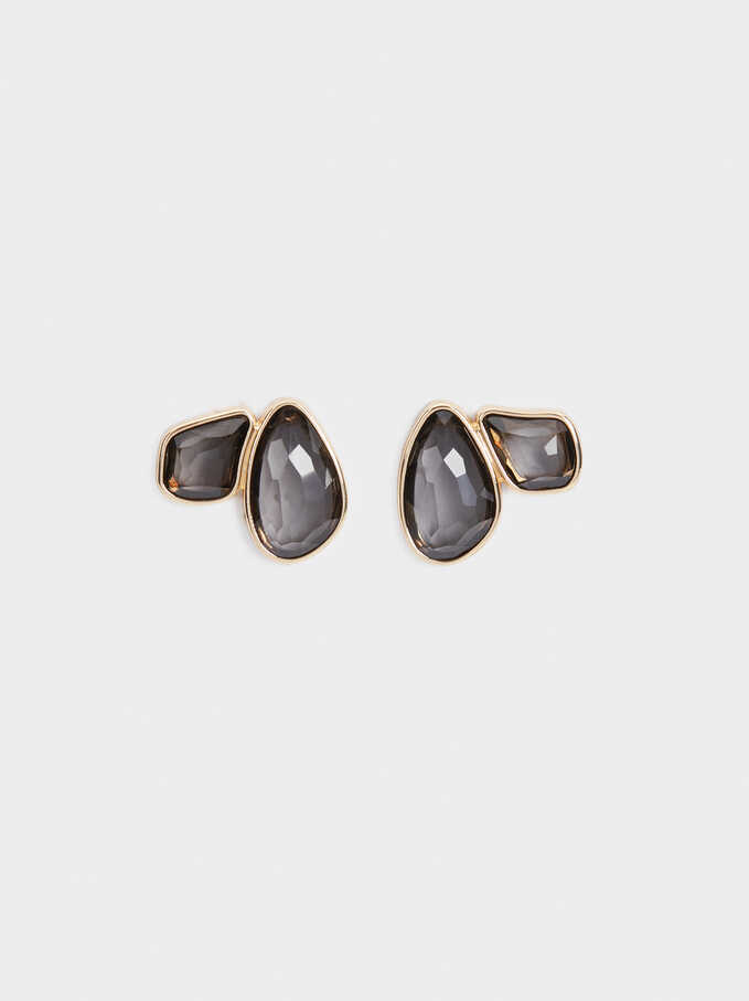 Exclusive Collection Flower Stud Earrings, Brown, hi-res