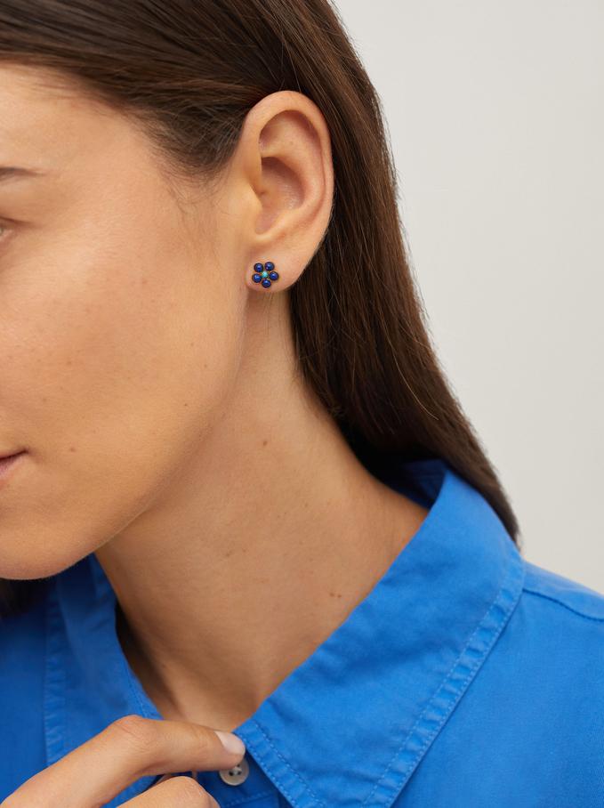 Short Steel Flower Earrings With Stone, Multicolor, hi-res