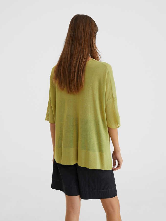 Knitted V-Neck Sweater, Yellow, hi-res